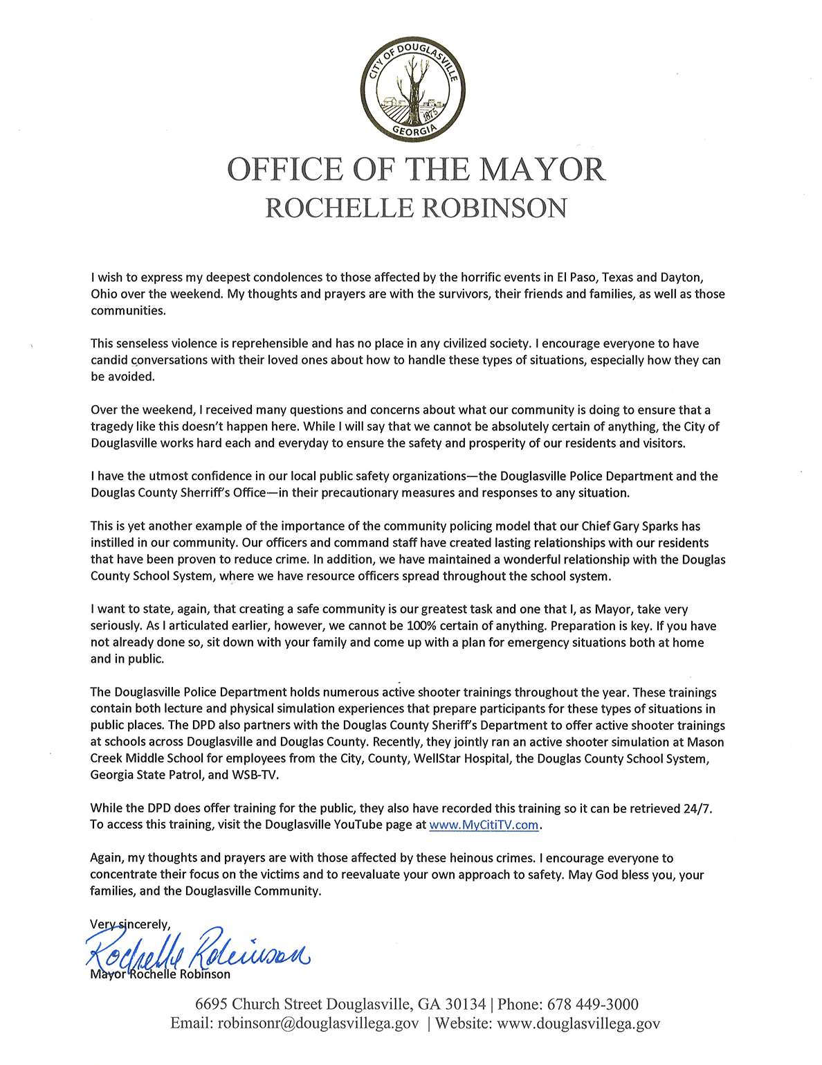 A Letter From Mayor Robinson